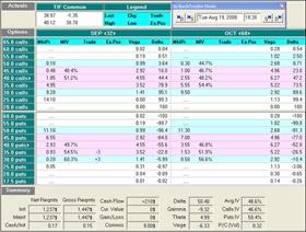 akcie, dluhopis, Matrix – informace o obchodě z opčního software OptionVue