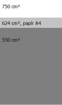Plocha klece pro nosnici, porovnání s papírem formátu A4