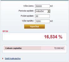 RPSN - kolik stojí úvěr