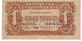 Jednokorunová bankovka, rok 1944