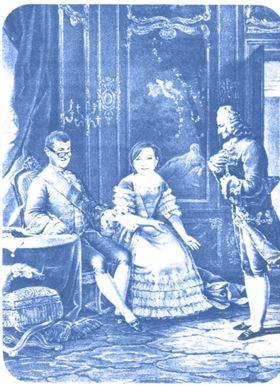 Louis XV. Babiche, madame Alena de Pompadour, Voltair