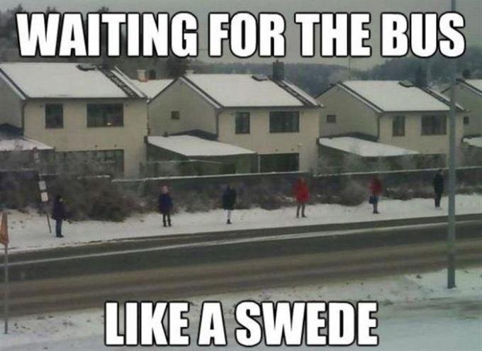 +Čekání na autobus ve Švédsku